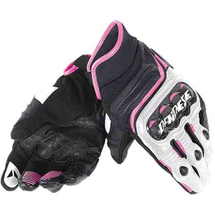 Carbon D1 short lady gloves black-white-fuchsia Dainese