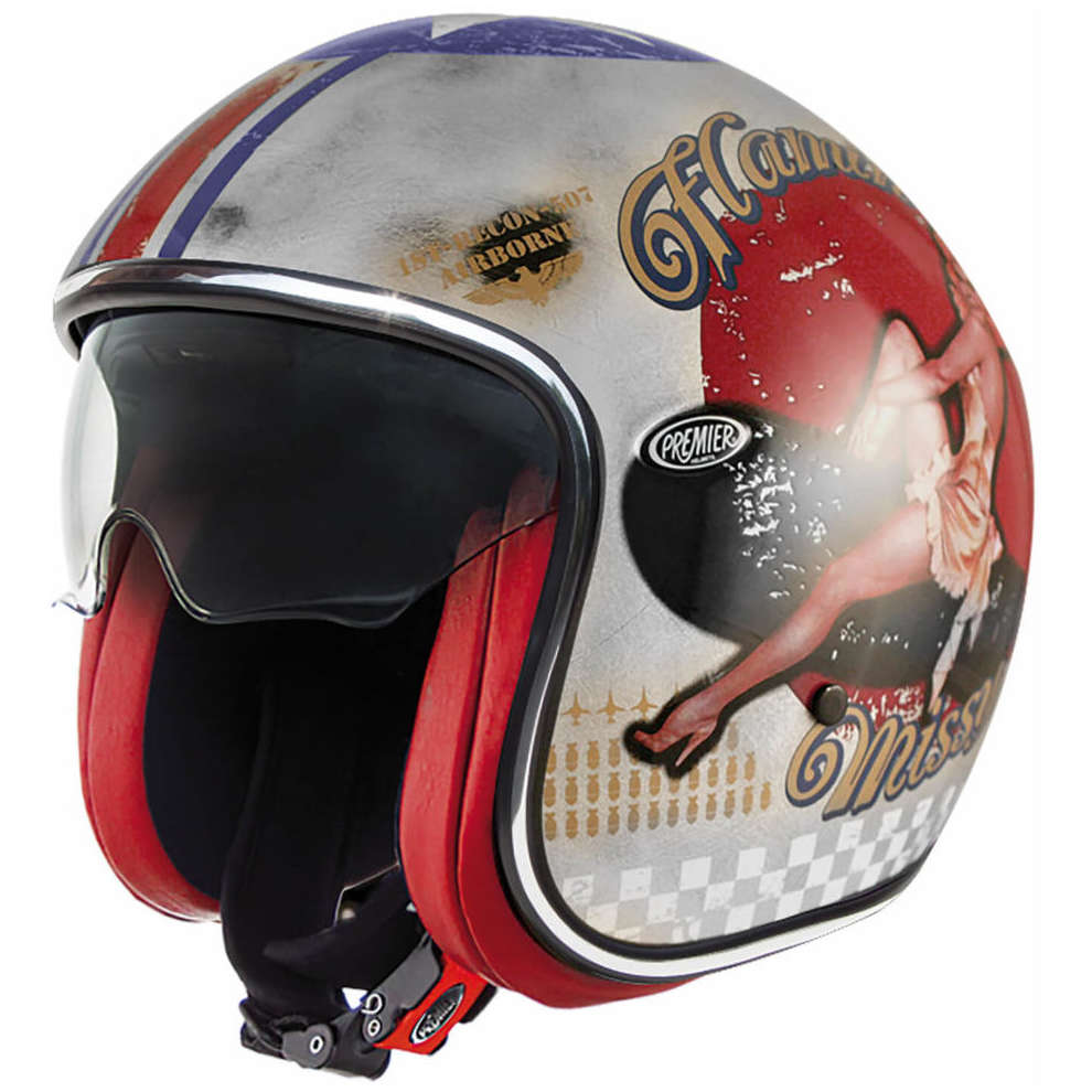 Casco 2018 Vintage Pin Up Old Style argento Premier