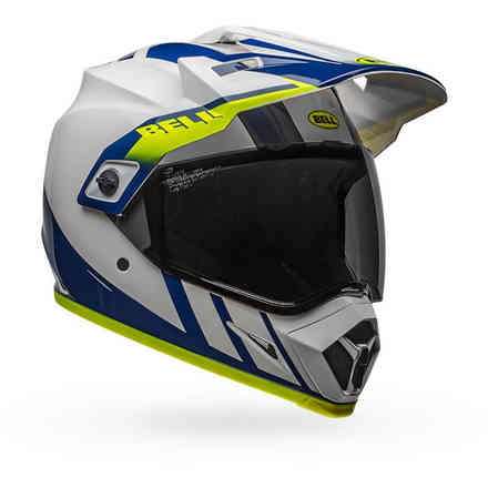 Casco Bell Mx-9 Adventure Mips Dash bianco blu giallo fluo Bell