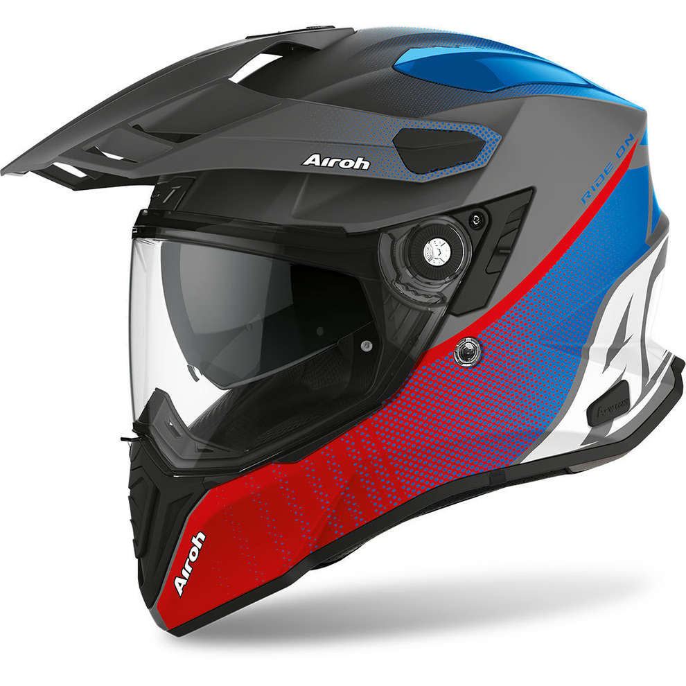 Casco Commander Progress Blu Rosso Opaco Airoh
