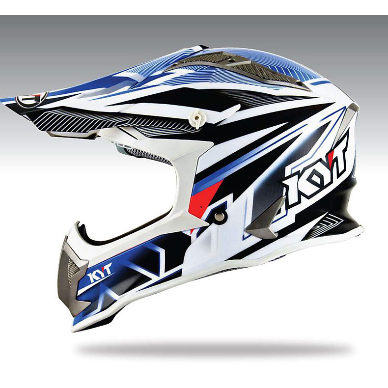 Casco Cross Strike Eagle Stripe blu KYT