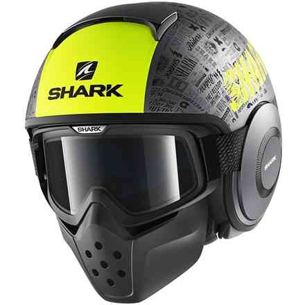 Casco Drak Tribute Rm Mat Giallo/Nero Shark