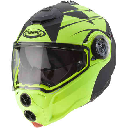 Casco Droid Patriot nero opaco giallo fluo Caberg