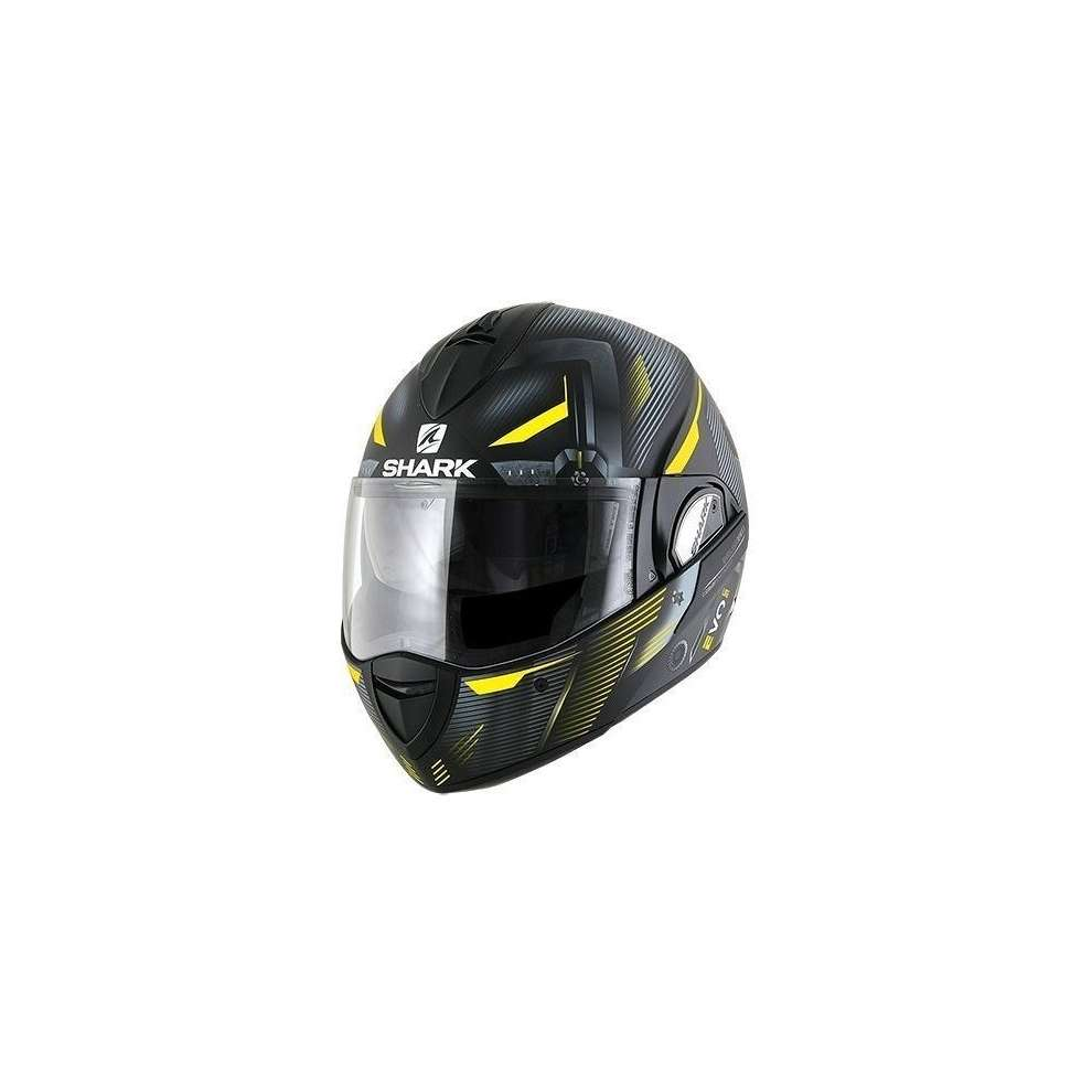 Casco Evoline 3 Shazer Mat Nero/Giallo Shark