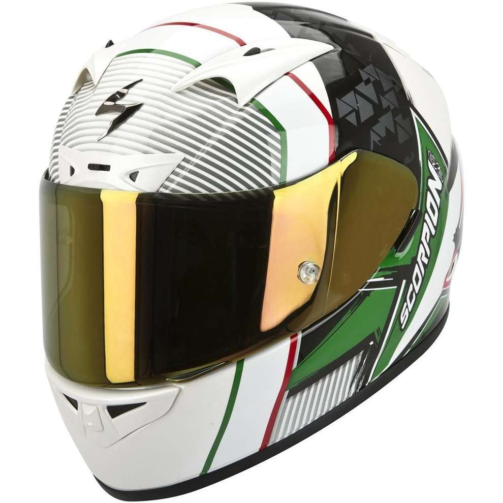 Casco Exo 710-Air Crystal Bianco Verde Rosso Scorpion