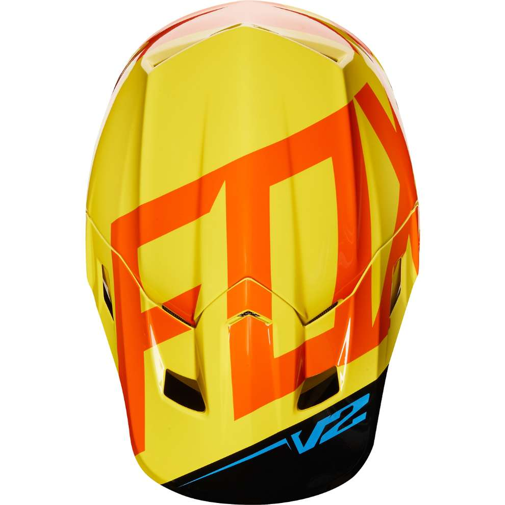Casco Fox  V2 Preme  Nero - Giallo Fox