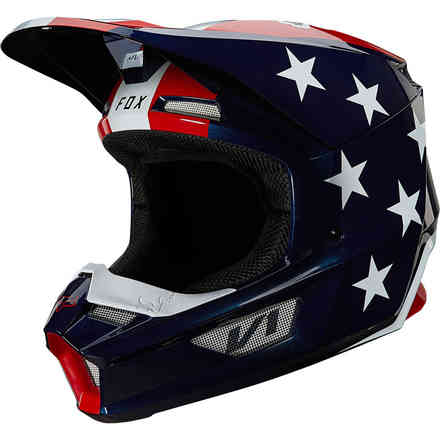 Casco Fx V1 Ultra Ece White/Red/Blue - Fox