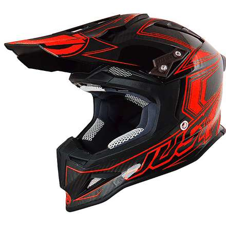 Casco J12 Carbon Rosso Fluo  Just1