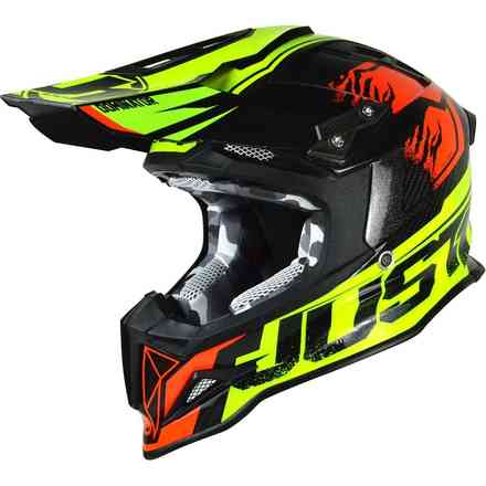 Casco J12 Dominator Neon Lime/Red Just1