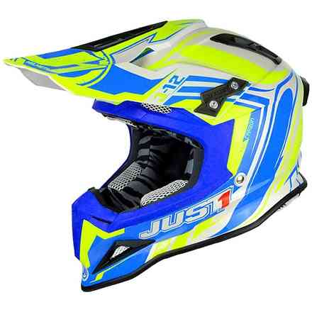 Casco J12 Flame Giallo-Blu Just1