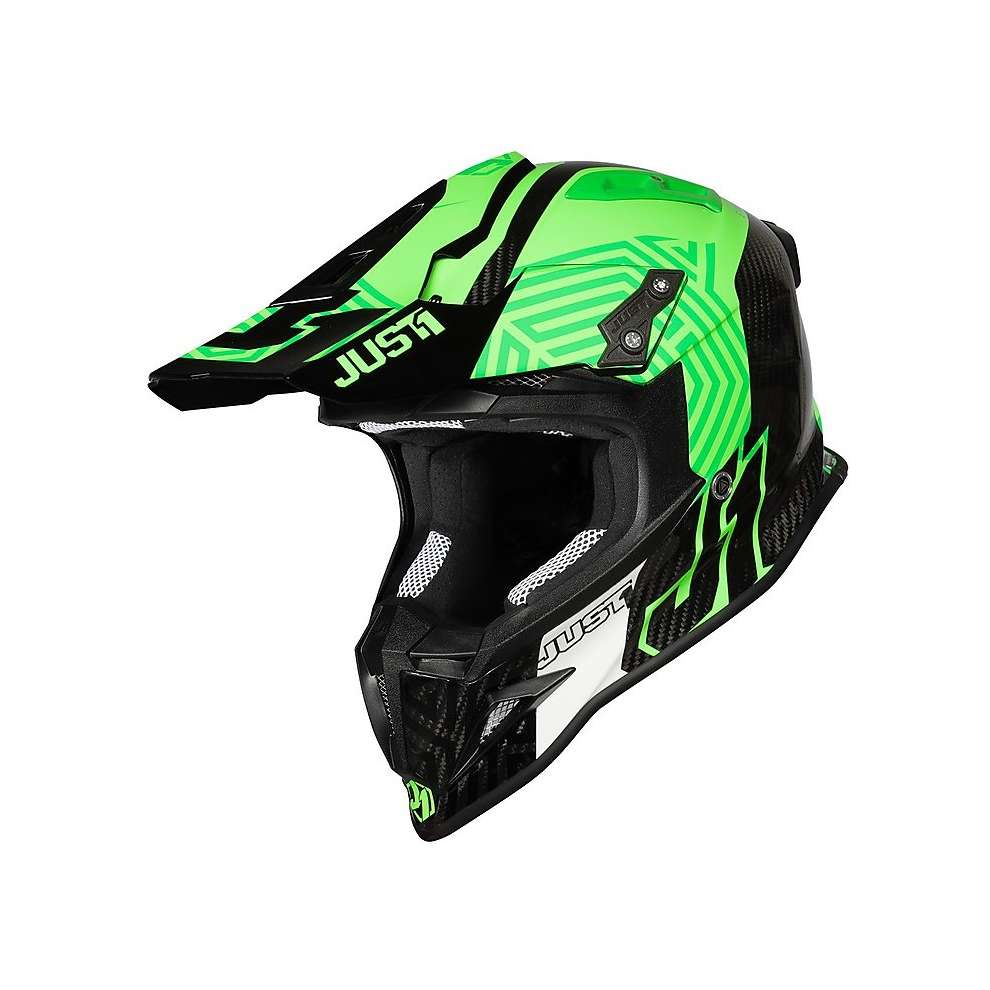 Casco J12 Syncro Fluo Verde Carbon  Just1