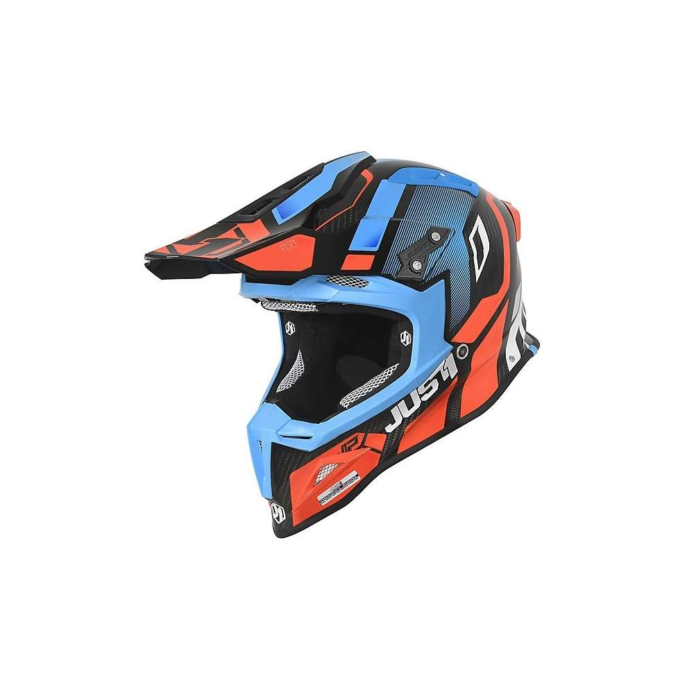 Casco J12 Vector Arancione/ Blu/ Carbon Just1