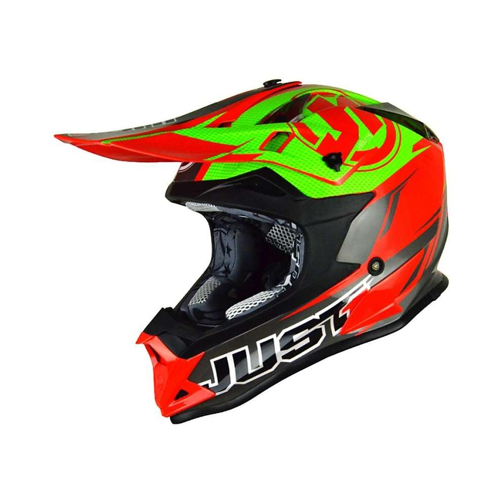 Casco J32 Pro Rave Rosso-Verde Lime Just1