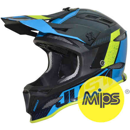 Casco Jdh Assault Blu-Giallo + Mips Just1