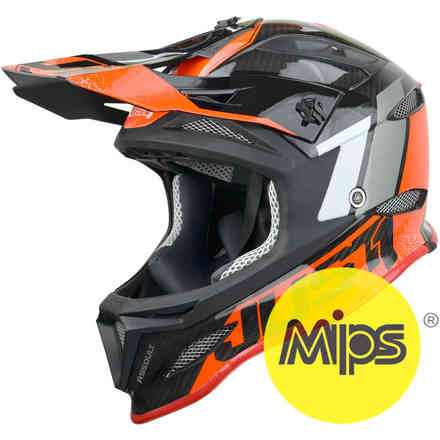 Casco Jdh Assault Nero-Rosso + Mips Just1