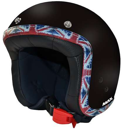 Casco Jet Flag nero opaco-UK MAX - Helmets
