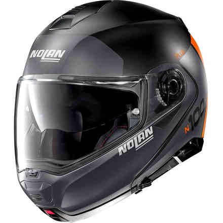 Casco N100-5 Plus Distinctive nero opaco lava arancio Nolan