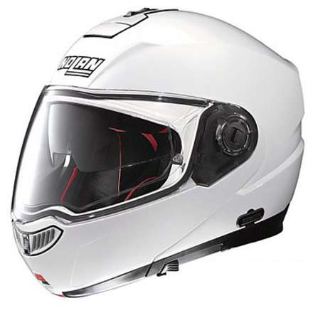 Casco N104 Absolute Classic N-Com metal white Nolan