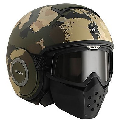 Casco Raw Kurtz Mat verde-ecru-nero Shark
