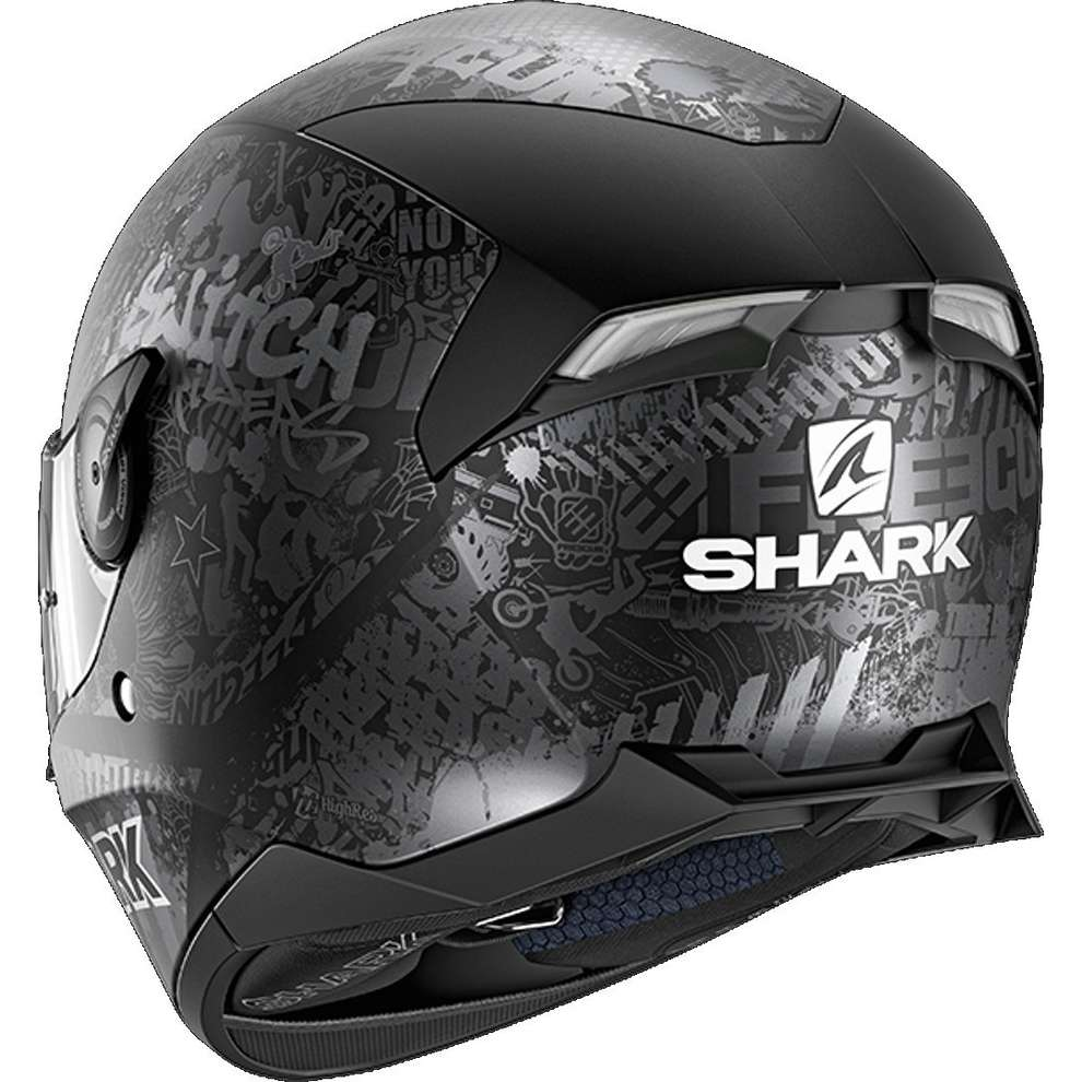 Casco Skwal 2.2 replica Switch  riders 2 nero antracite argento opaco Shark