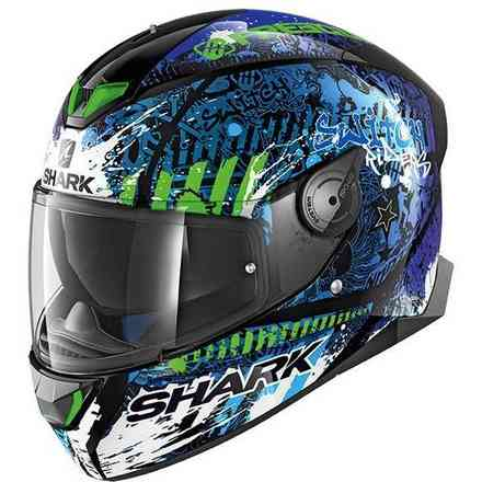 Casco Skwal 2.2 replica Switch Riders 2 nero blu verde Shark