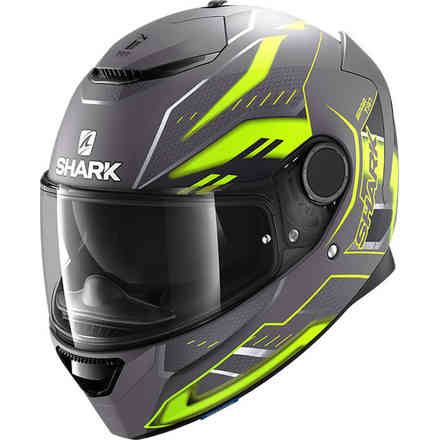Casco Spartan 1.2 Antheon antracite giallo nero opaco Shark
