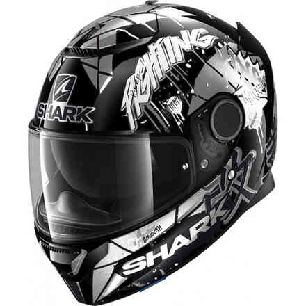 Casco Spartan 1.2 replica Lorenzo Catalunya gp 2018 nero bianco glitter Shark