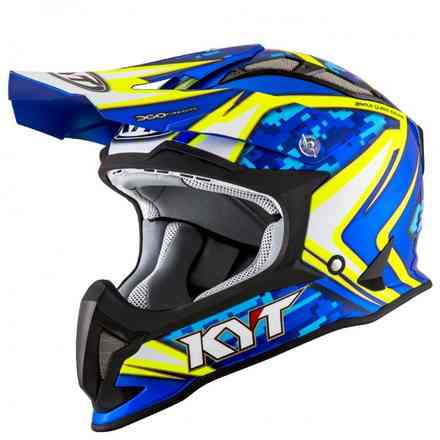 Casco Strike Eagle Reef Blu Giallo Fluo KYT