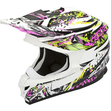 Casco VX-15 Evo Air Horror Bianco-Rosa-Verde Scorpion