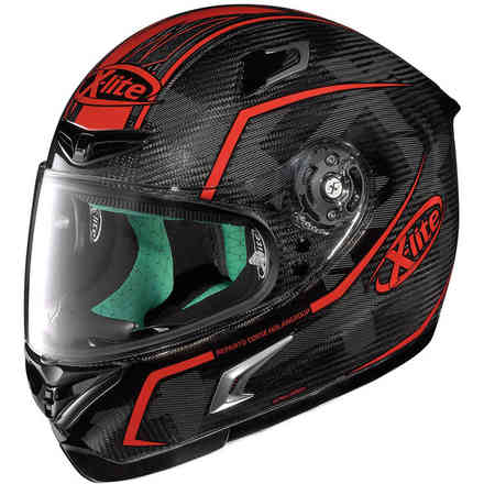 Casco X-802rr Ultra Carbon Marquetry rosso X-lite
