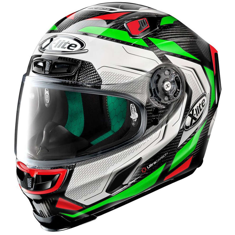 Casco X-803 Ultra Carbon Caesar Checa Carbon verde bianco X-lite