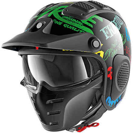Casco X-Drak Freestyle Nero-blu-verde Shark