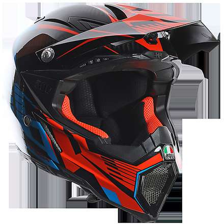 Casque Ax-8 Carbon Carbotech orange-bleu Agv