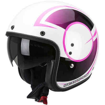 Casque  Belfast Citurban blanc-rose brillant Scorpion