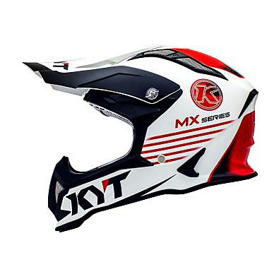 Casque Cross Strike Eagle K-Mx Blanc-Rouge KYT