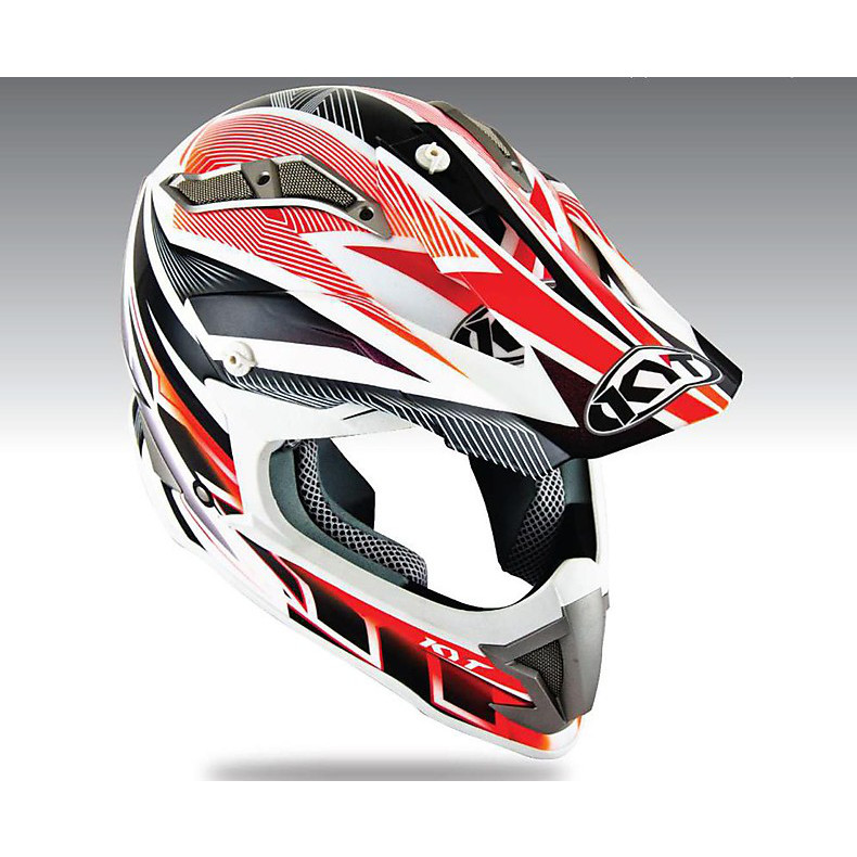 Casque Cross Strike Eagle Stripe rouge KYT