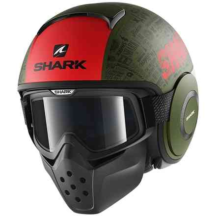 Casque Drak Tribute Rm Mat Rouge/Vert Shark