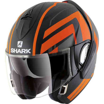 Casque Evoline 3 Corvus Mat Orange/Noire Shark