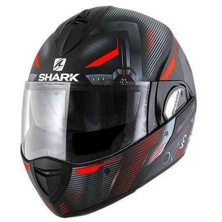 Casque Evoline 3 Shazer Mat Noir/Rouge Shark