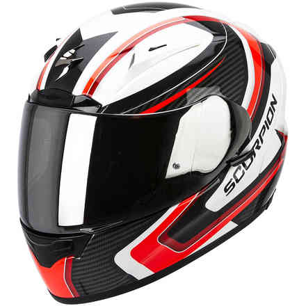 Casque Exo-2000 Evo Air Carb blanc-rouge-noir Scorpion