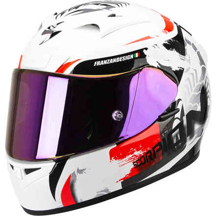Casque Exo-710 Air Cerberus blanc-rouge Scorpion