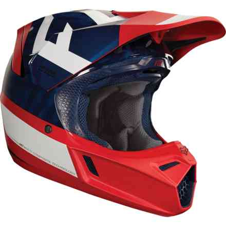 Casque Fox Racing V3 Preest Navy - Rouge Fox