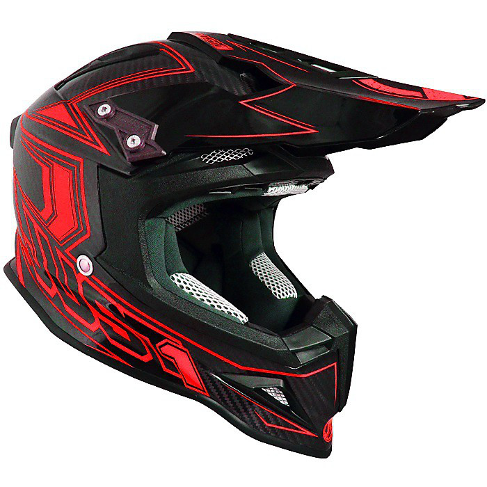 Casque J12 Carbon Rouge Fluo Just1