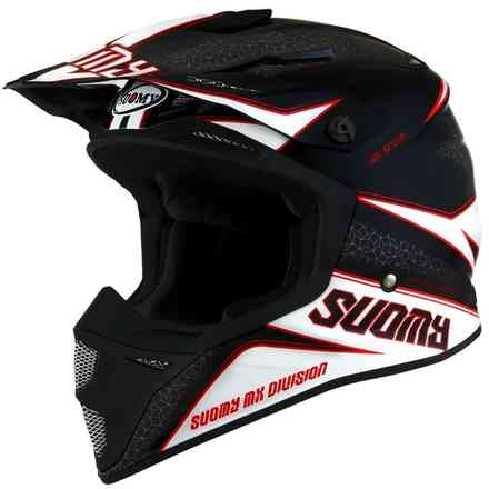 Casque Mx Speed ​​Transition Blanc-Noir-Rouge Suomy