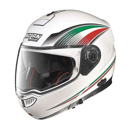 Casque N104 Absolute Italy N-Com metal white Nolan