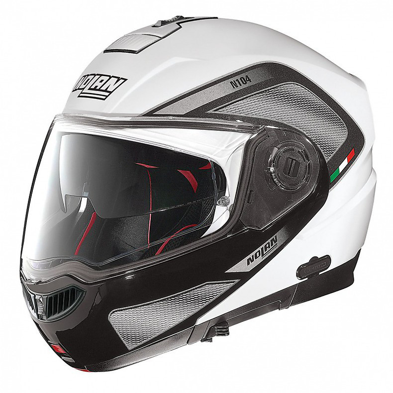 Casque N104 Absolute Tech N-Com metal white Nolan