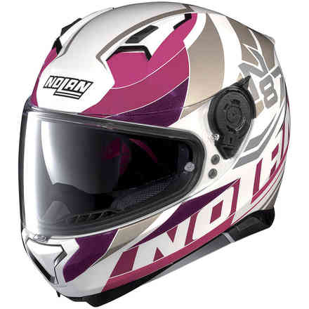 Casque N87 Plein Air N-Com blanc rose Nolan
