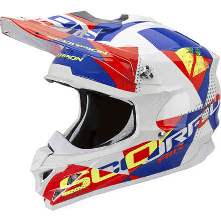 Casque VX-15 Evo Air Akra blanc-rouge-bleu Scorpion