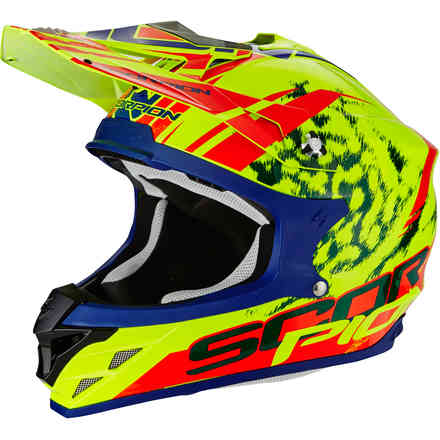 Casque Vx-15 Evo Air Kistune jaune rouge Scorpion