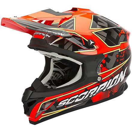 Casque VX-15 Evo Air Magma Noir-Rouge Fluo Scorpion